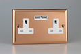Varilight Classic Polished Copper 2-Gang 13A Unswitched Socket + USB Ports with White Insert